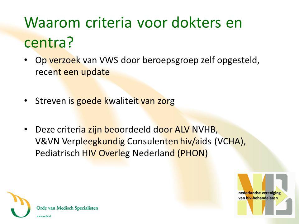 Waarom criteria voor dokters en centra? • Op verzoek van VWS door beroepsgroep zelf opgesteld, recent een update • Streven is goede kwaliteit van zorg