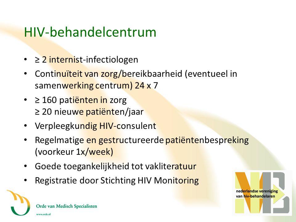 HIV-behandelcentrum • ≥ 2 internist-infectiologen • Continuïteit van zorg/bereikbaarheid (eventueel in samenwerking centrum) 24 x 7 • ≥ 160 patiënten
