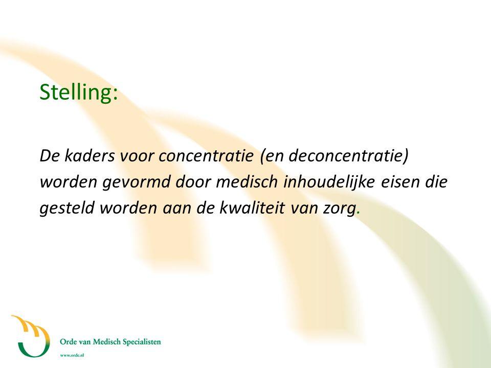 Stelling: De kaders voor concentratie (en deconcentratie) worden gevormd door medisch inhoudelijke eisen die gesteld worden aan de kwaliteit van zorg.