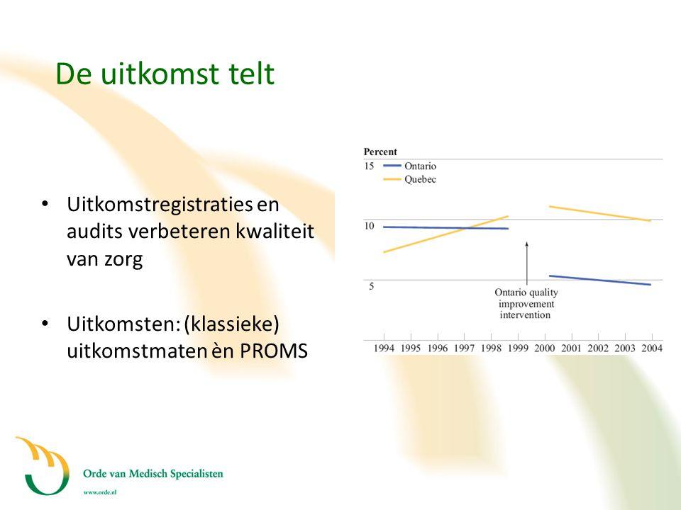 De uitkomst telt • Uitkomstregistraties en audits verbeteren kwaliteit van zorg • Uitkomsten: (klassieke) uitkomstmaten èn PROMS