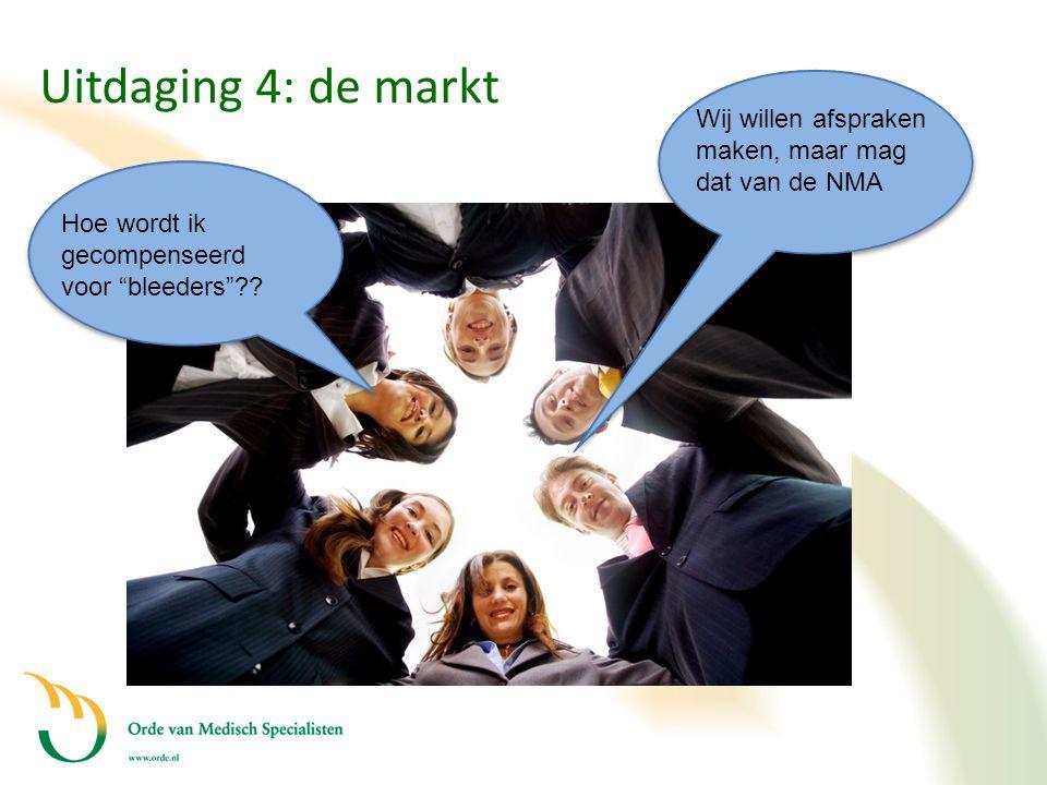 """Uitdaging 4: de markt Hoe wordt ik gecompenseerd voor """"bleeders""""?? Wij willen afspraken maken, maar mag dat van de NMA"""