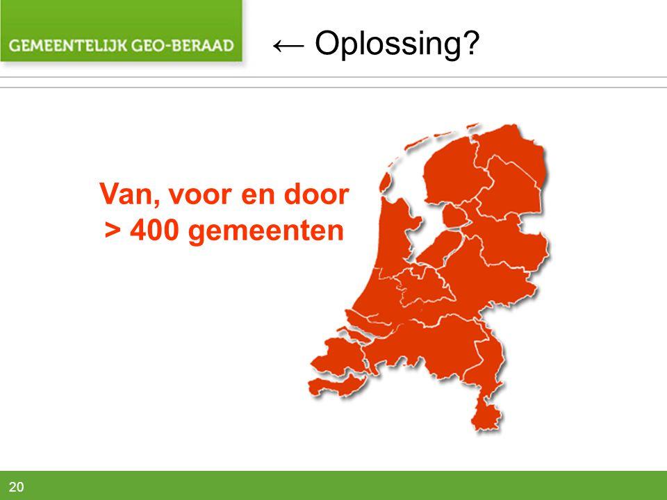 20 Van, voor en door > 400 gemeenten ← Oplossing?