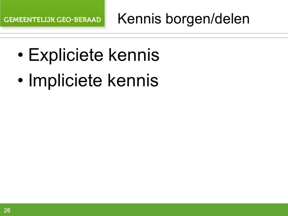 26 Kennis borgen/delen •Expliciete kennis •Impliciete kennis