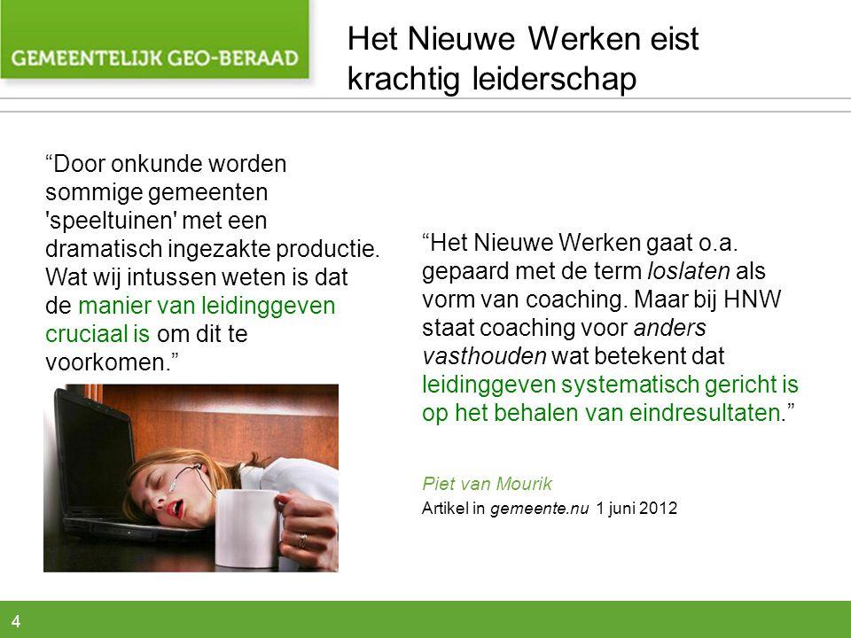 4 Het Nieuwe Werken gaat o.a.gepaard met de term loslaten als vorm van coaching.
