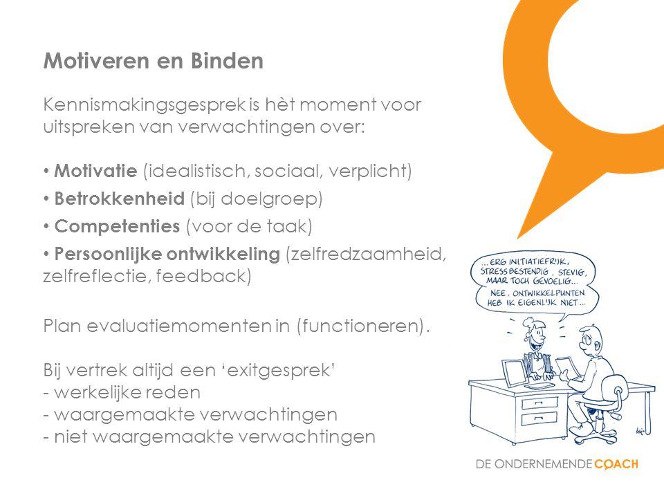 Kennismakingsgesprek is hèt moment voor uitspreken van verwachtingen over: • Motivatie (idealistisch, sociaal, verplicht) • Betrokkenheid (bij doelgro
