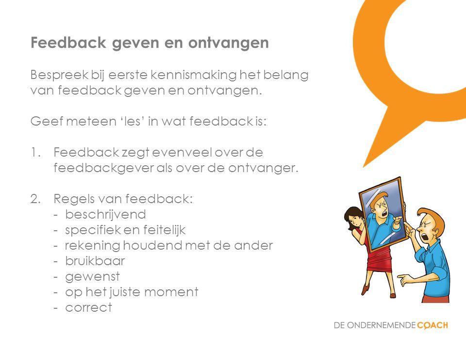 Bespreek bij eerste kennismaking het belang van feedback geven en ontvangen. Geef meteen 'les' in wat feedback is: 1.Feedback zegt evenveel over de fe
