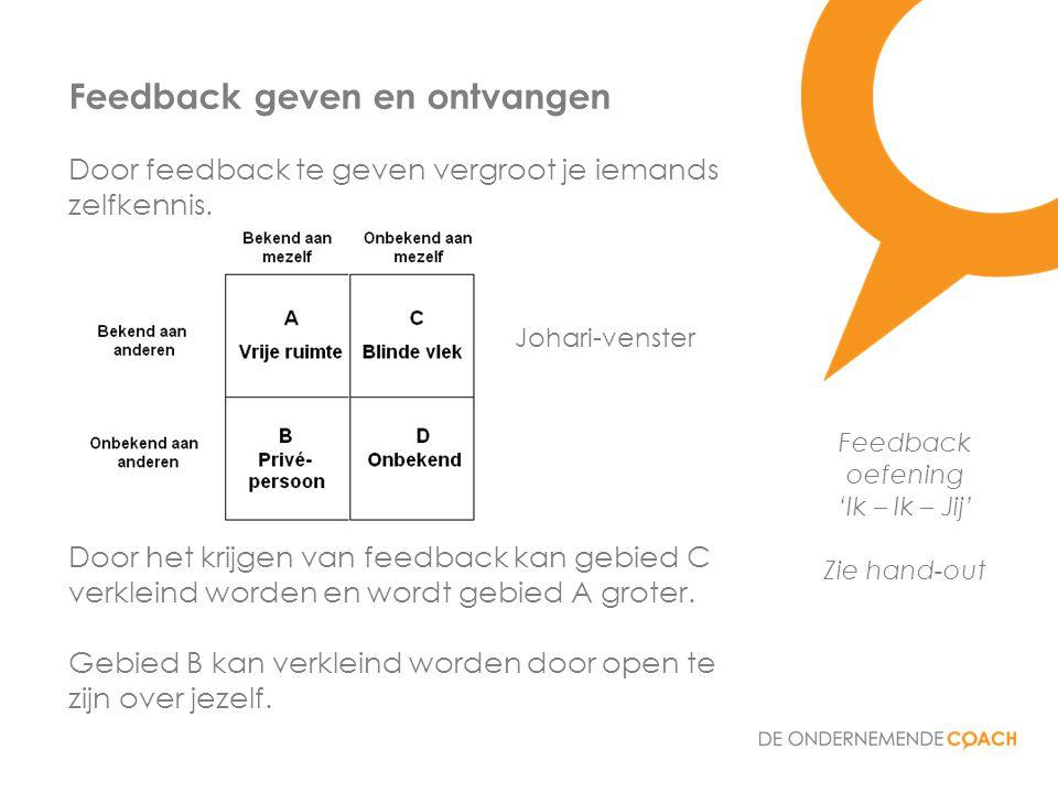 Door feedback te geven vergroot je iemands zelfkennis. Door het krijgen van feedback kan gebied C verkleind worden en wordt gebied A groter. Gebied B