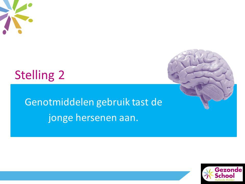 Stelling 2 Genotmiddelen gebruik tast de jonge hersenen aan.