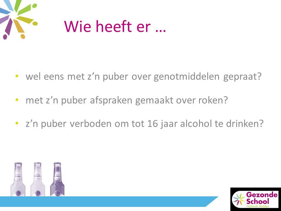 • wel eens met z'n puber over genotmiddelen gepraat? • met z'n puber afspraken gemaakt over roken? • z'n puber verboden om tot 16 jaar alcohol te drin