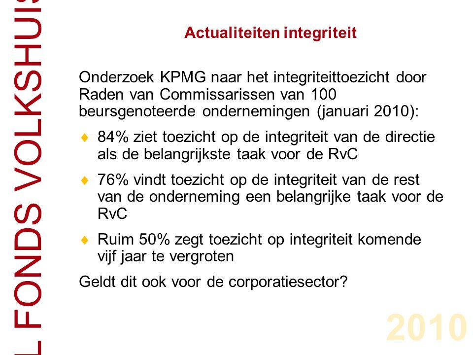 CENTRAAL FONDS VOLKSHUISVESTING Onderzoek KPMG naar het integriteittoezicht door Raden van Commissarissen van 100 beursgenoteerde ondernemingen (januari 2010):  84% ziet toezicht op de integriteit van de directie als de belangrijkste taak voor de RvC  76% vindt toezicht op de integriteit van de rest van de onderneming een belangrijke taak voor de RvC  Ruim 50% zegt toezicht op integriteit komende vijf jaar te vergroten Geldt dit ook voor de corporatiesector.