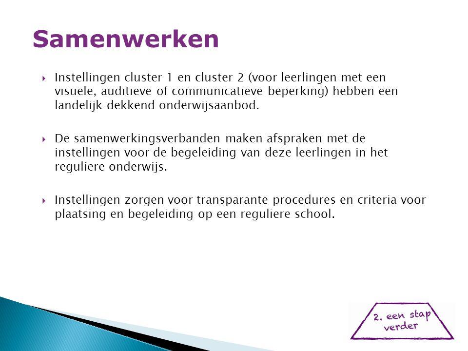  Instellingen cluster 1 en cluster 2 (voor leerlingen met een visuele, auditieve of communicatieve beperking) hebben een landelijk dekkend onderwijsaanbod.