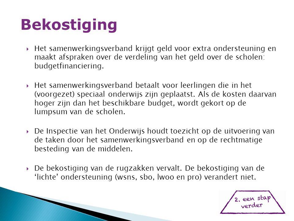  Het samenwerkingsverband krijgt geld voor extra ondersteuning en maakt afspraken over de verdeling van het geld over de scholen: budgetfinanciering.