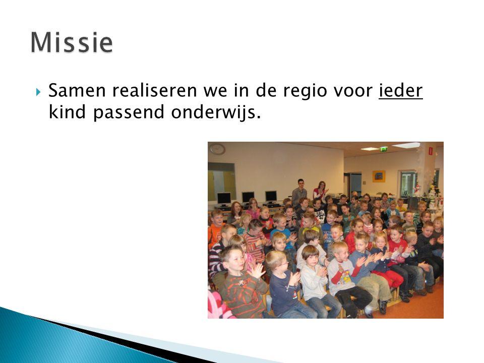  Samen realiseren we in de regio voor ieder kind passend onderwijs.