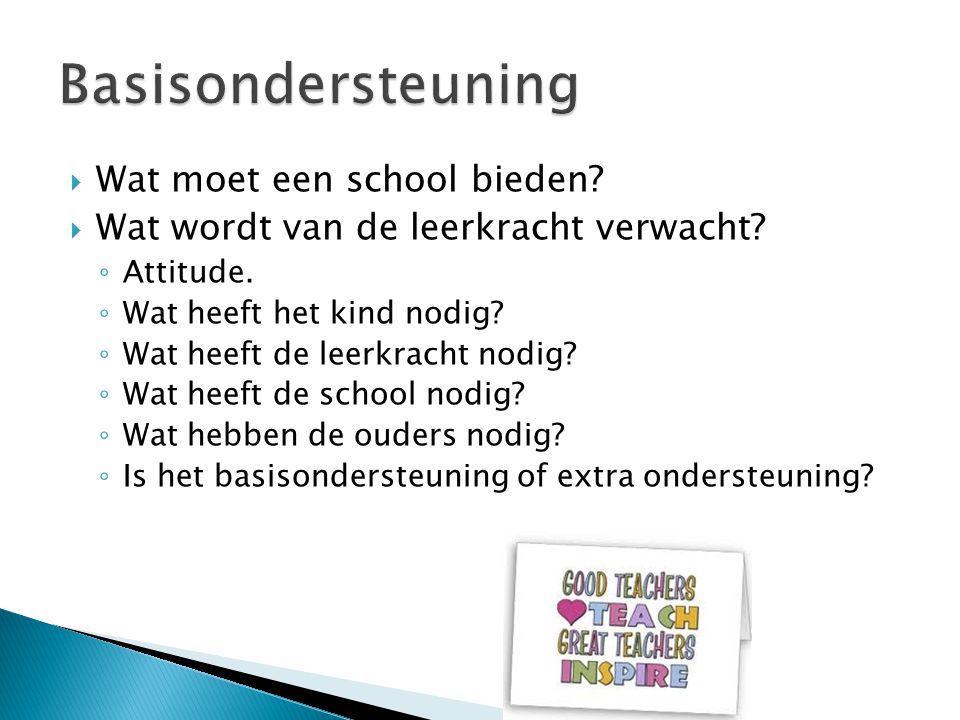  Wat moet een school bieden?  Wat wordt van de leerkracht verwacht? ◦ Attitude. ◦ Wat heeft het kind nodig? ◦ Wat heeft de leerkracht nodig? ◦ Wat h