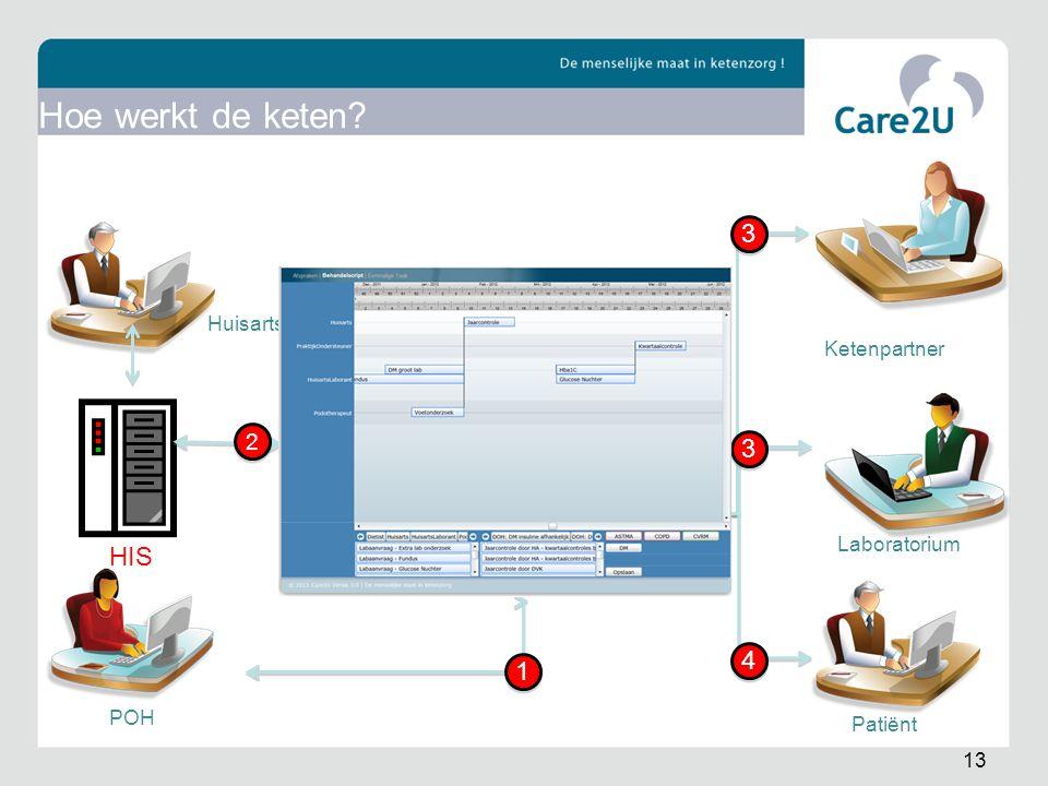 HIS Huisarts POH Ketenpartner Laboratorium 2 2 1 1 3 3 3 3 4 4 Patiënt 13 Hoe werkt de keten?