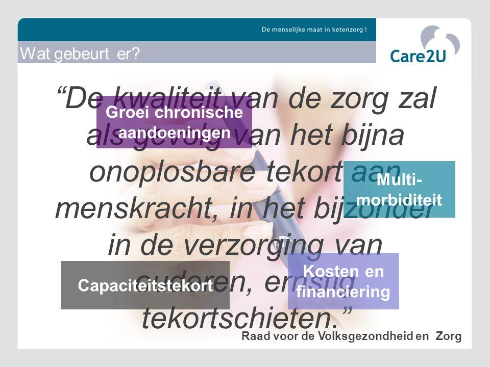 (stapsgewijs) meer aandacht voor procesmanagement Zorggroepen willen patiënt meer betrekken en inzicht geven Onzekerheid t.a.v.