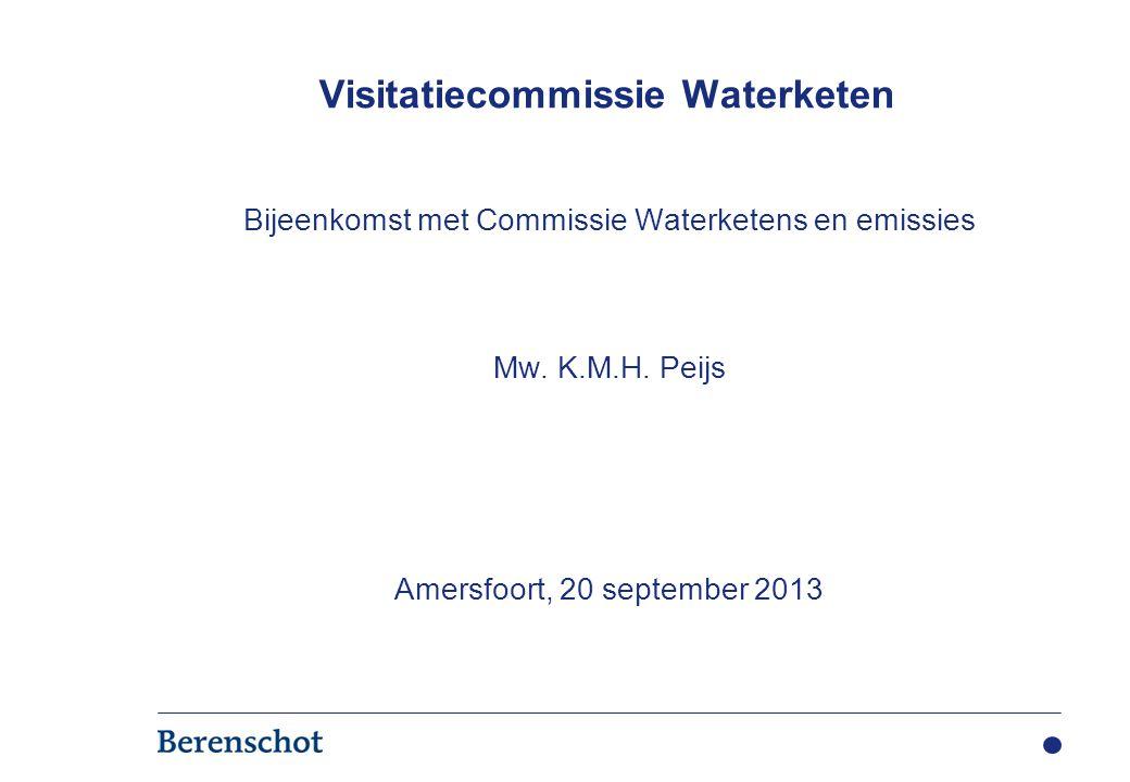 Bijeenkomst met Commissie Waterketens en emissies Mw. K.M.H. Peijs Amersfoort, 20 september 2013 Visitatiecommissie Waterketen