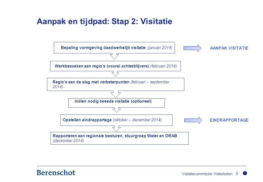 Aanpak en tijdpad: Stap 2: Visitatie 6 Bepaling vormgeving daadwerkelijk visitatie (januari 2014) Werkbezoeken aan regio's (vooral achterblijvers) (fe