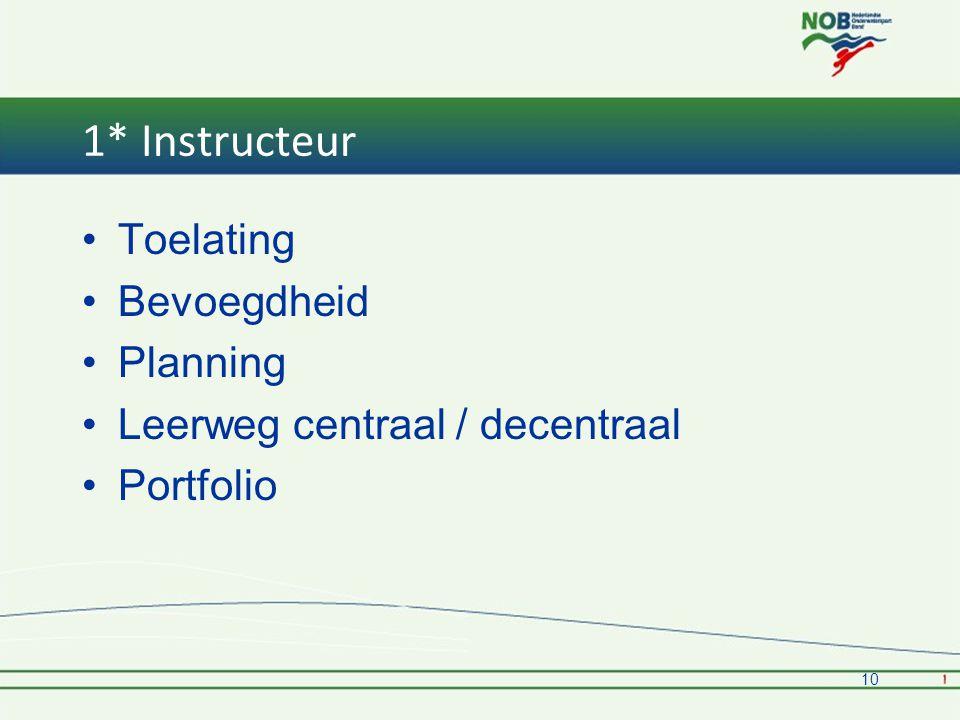 1* Instructeur •Toelating •Bevoegdheid •Planning •Leerweg centraal / decentraal •Portfolio 10