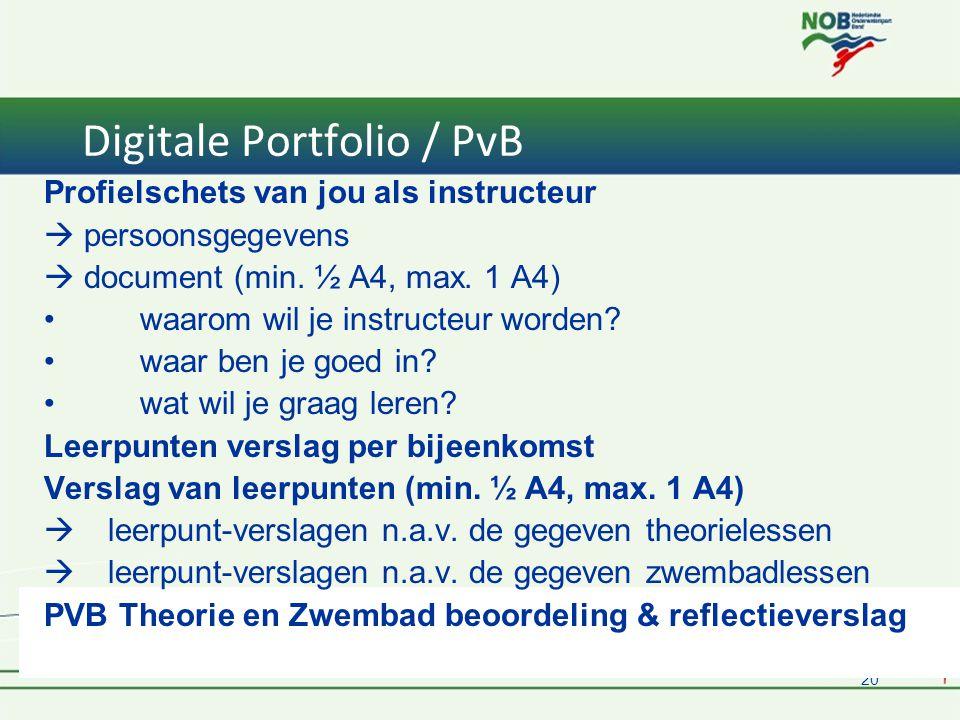 20 Digitale Portfolio / PvB Profielschets van jou als instructeur  persoonsgegevens  document (min.