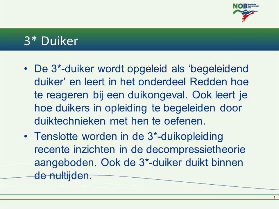 3* Duiker •De 3*-duiker wordt opgeleid als 'begeleidend duiker' en leert in het onderdeel Redden hoe te reageren bij een duikongeval.