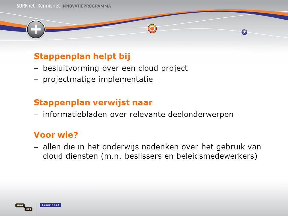 Stappenplan helpt bij – besluitvorming over een cloud project – projectmatige implementatie Stappenplan verwijst naar – informatiebladen over relevante deelonderwerpen Voor wie.