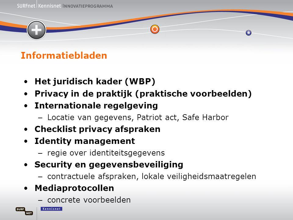 Informatiebladen •Het juridisch kader (WBP) •Privacy in de praktijk (praktische voorbeelden) •Internationale regelgeving – Locatie van gegevens, Patri