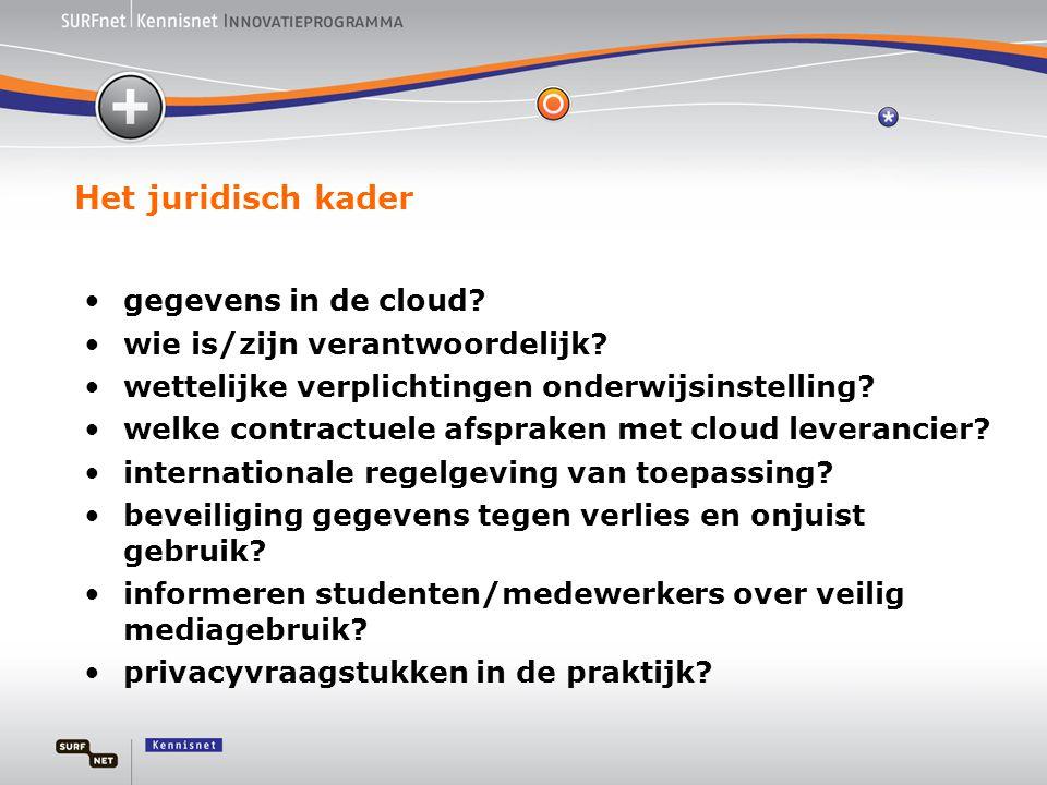 Het juridisch kader •gegevens in de cloud? •wie is/zijn verantwoordelijk? •wettelijke verplichtingen onderwijsinstelling? •welke contractuele afsprake