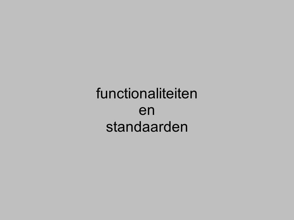 functionaliteiten en standaarden