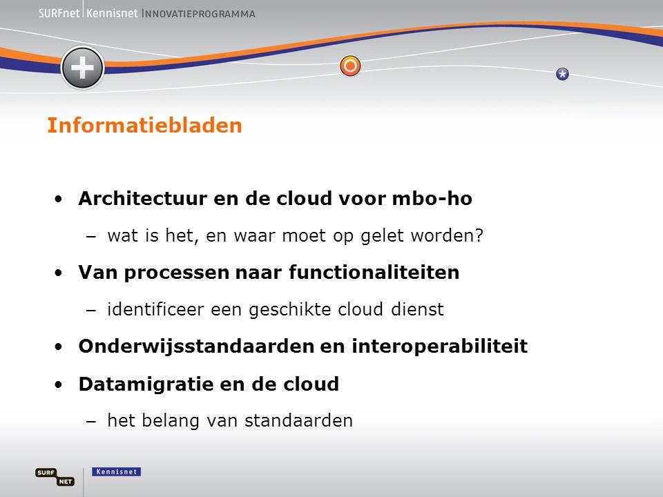 Informatiebladen •Architectuur en de cloud voor mbo-ho – wat is het, en waar moet op gelet worden? •Van processen naar functionaliteiten – identificee