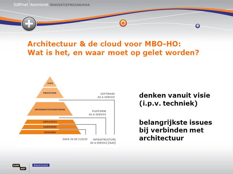 Architectuur & de cloud voor MBO-HO: Wat is het, en waar moet op gelet worden? denken vanuit visie (i.p.v. techniek) belangrijkste issues bij verbinde