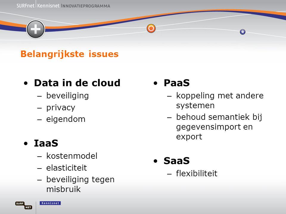Belangrijkste issues •Data in de cloud – beveiliging – privacy – eigendom •IaaS – kostenmodel – elasticiteit – beveiliging tegen misbruik •PaaS – koppeling met andere systemen – behoud semantiek bij gegevensimport en export •SaaS – flexibiliteit