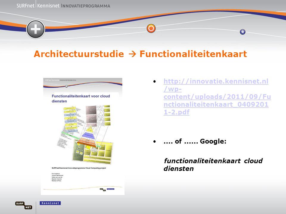 Architectuurstudie  Functionaliteitenkaart •http://innovatie.kennisnet.nl /wp- content/uploads/2011/09/Fu nctionaliteitenkaart_0409201 1-2.pdfhttp://