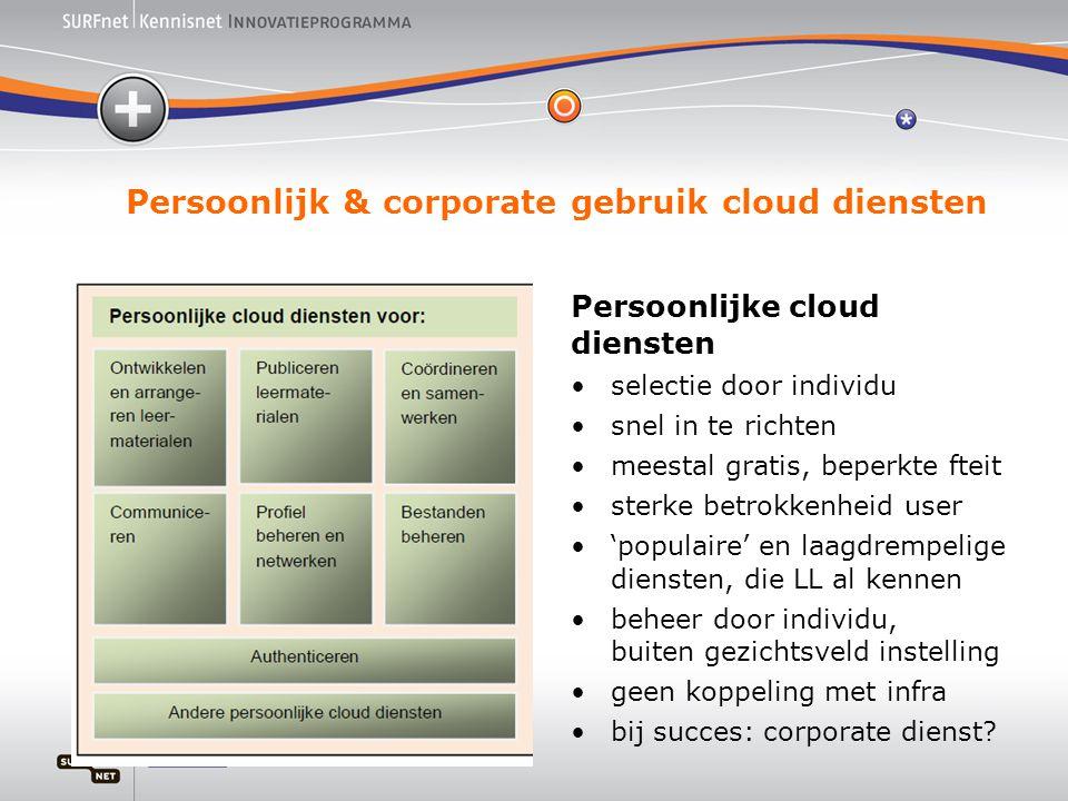 Persoonlijk & corporate gebruik cloud diensten Persoonlijke cloud diensten •selectie door individu •snel in te richten •meestal gratis, beperkte fteit