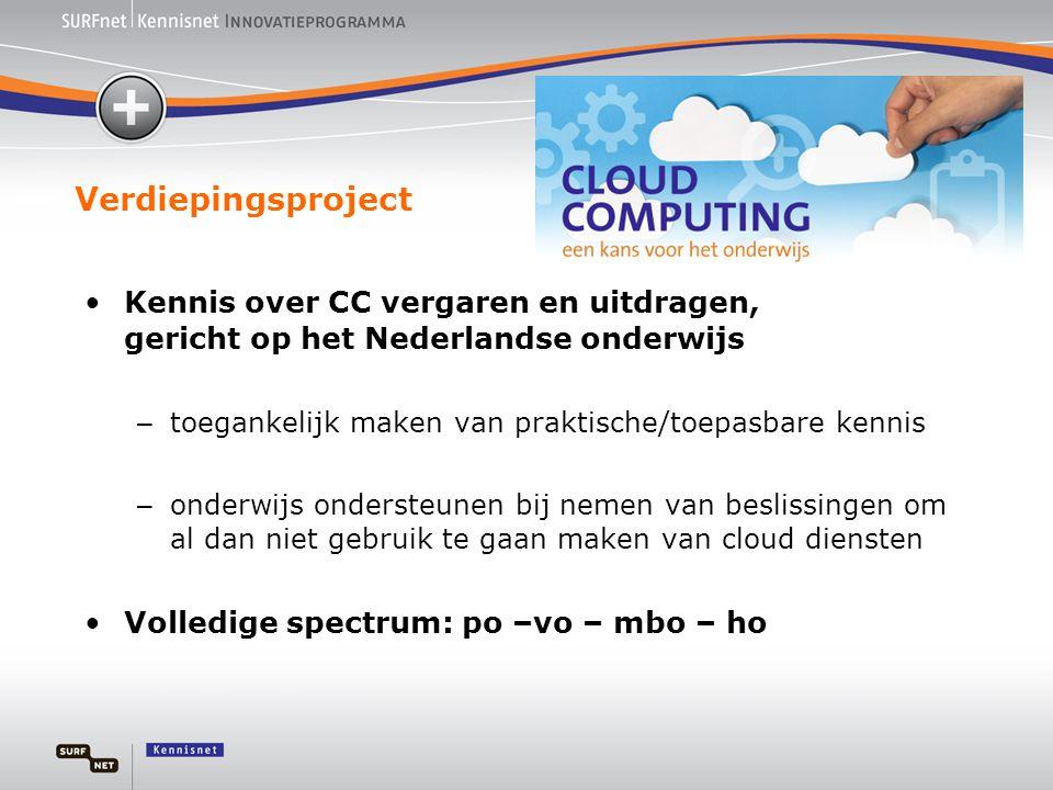 Verdiepingsproject •Kennis over CC vergaren en uitdragen, gericht op het Nederlandse onderwijs – toegankelijk maken van praktische/toepasbare kennis –