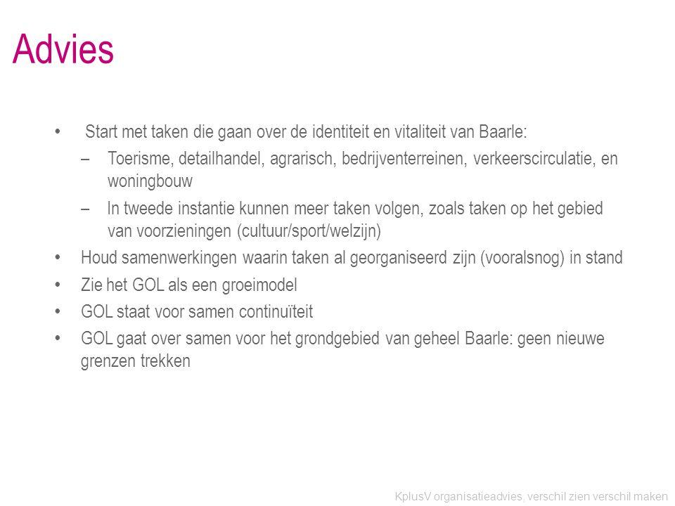 KplusV organisatieadvies, verschil zien verschil maken Advies • Start met taken die gaan over de identiteit en vitaliteit van Baarle: –Toerisme, detailhandel, agrarisch, bedrijventerreinen, verkeerscirculatie, en woningbouw –In tweede instantie kunnen meer taken volgen, zoals taken op het gebied van voorzieningen (cultuur/sport/welzijn) • Houd samenwerkingen waarin taken al georganiseerd zijn (vooralsnog) in stand • Zie het GOL als een groeimodel • GOL staat voor samen continuïteit • GOL gaat over samen voor het grondgebied van geheel Baarle: geen nieuwe grenzen trekken