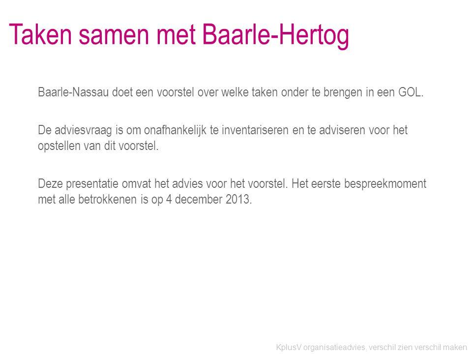 KplusV organisatieadvies, verschil zien verschil maken Taken samen met Baarle-Hertog Baarle-Nassau doet een voorstel over welke taken onder te brengen in een GOL.