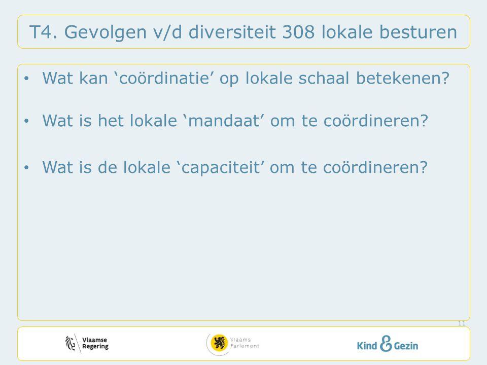 T4. Gevolgen v/d diversiteit 308 lokale besturen • Wat kan 'coördinatie' op lokale schaal betekenen? • Wat is het lokale 'mandaat' om te coördineren?