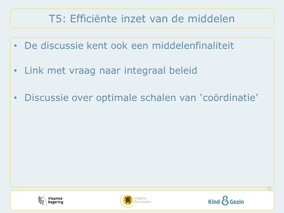 T5: Efficiënte inzet van de middelen • De discussie kent ook een middelenfinaliteit • Link met vraag naar integraal beleid • Discussie over optimale schalen van 'coördinatie' 12
