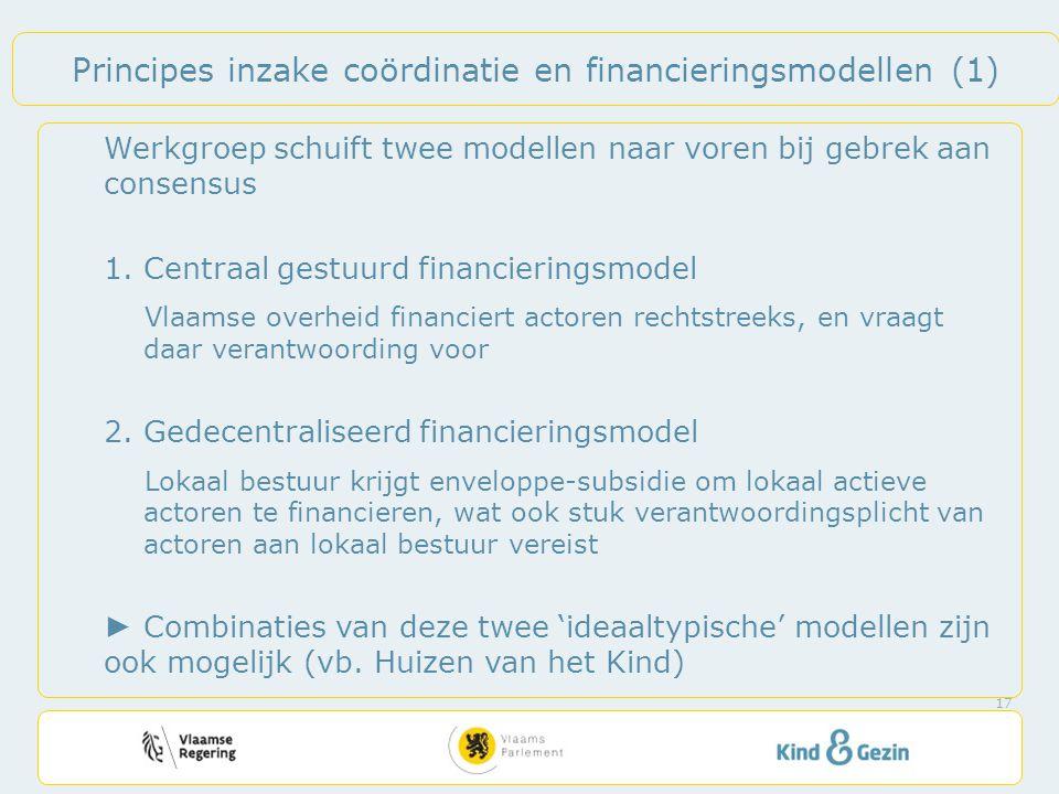 Principes inzake coördinatie en financieringsmodellen (1) Werkgroep schuift twee modellen naar voren bij gebrek aan consensus 1.