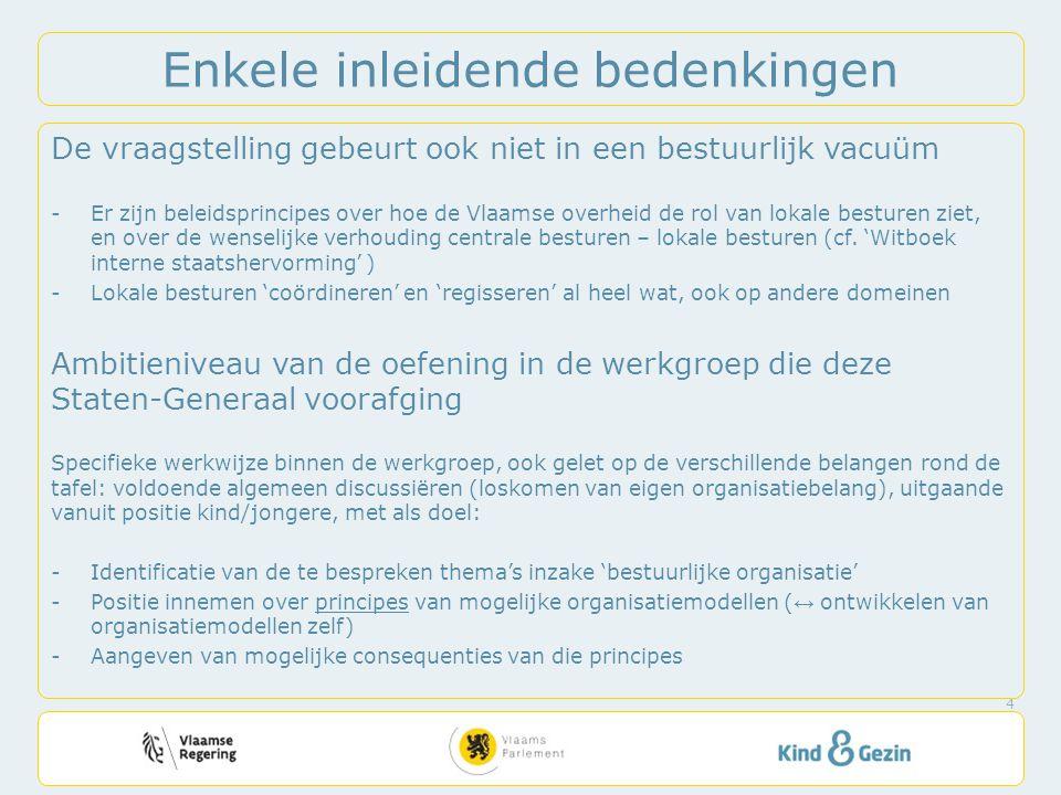 Enkele inleidende bedenkingen De vraagstelling gebeurt ook niet in een bestuurlijk vacuüm -Er zijn beleidsprincipes over hoe de Vlaamse overheid de rol van lokale besturen ziet, en over de wenselijke verhouding centrale besturen – lokale besturen (cf.