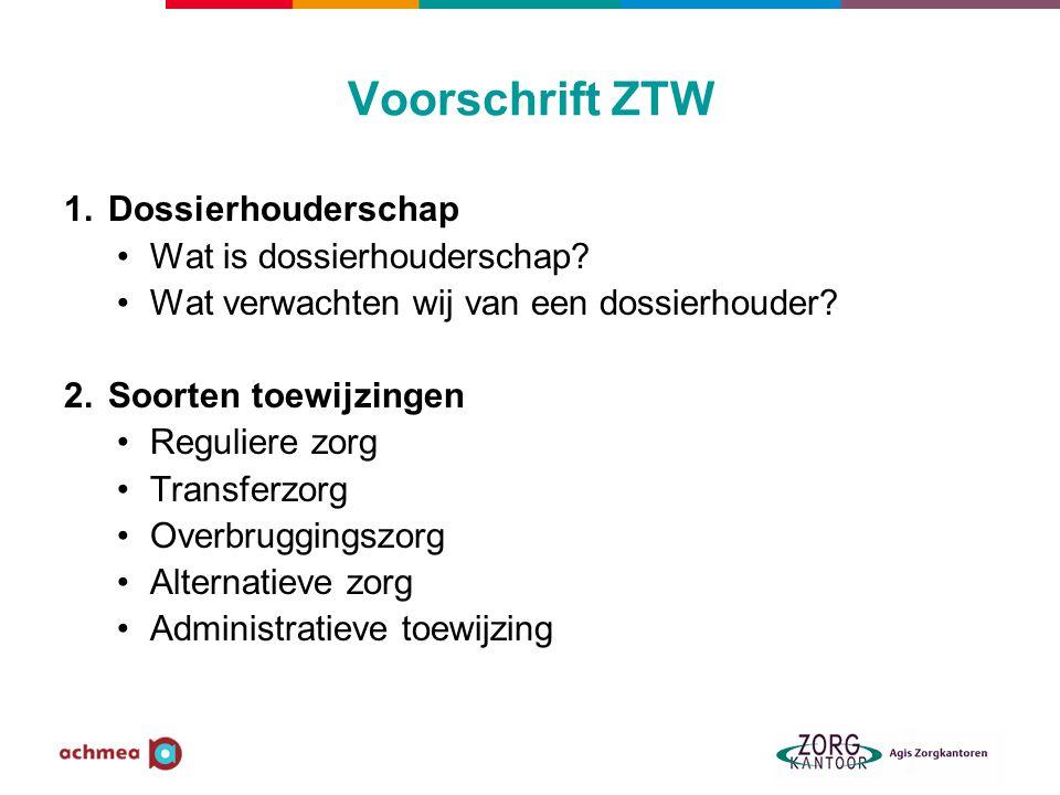 Voorschrift ZTW 1.Dossierhouderschap •Wat is dossierhouderschap.