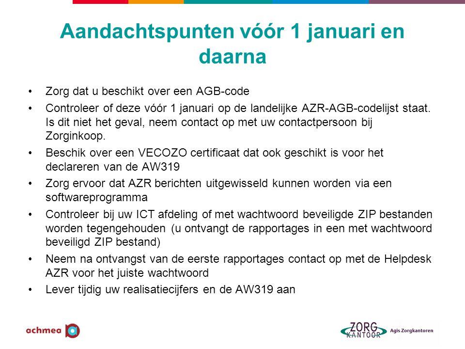 Aandachtspunten vóór 1 januari en daarna •Zorg dat u beschikt over een AGB-code •Controleer of deze vóór 1 januari op de landelijke AZR-AGB-codelijst staat.