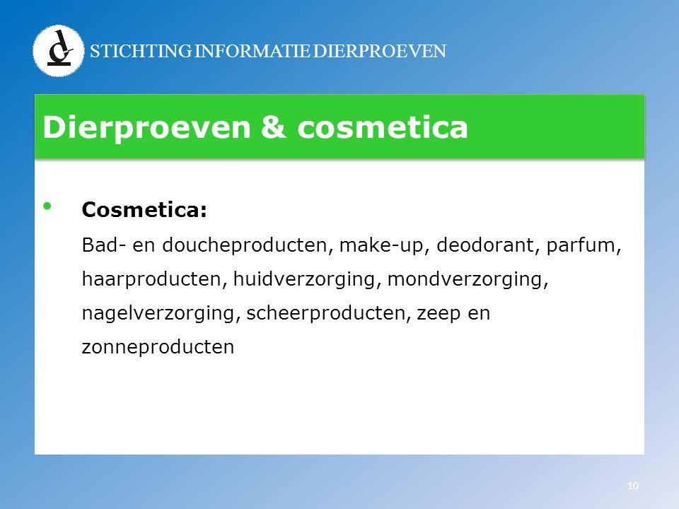 STICHTING INFORMATIE DIERPROEVEN Dierproeven & cosmetica • Cosmetica: Bad- en doucheproducten, make-up, deodorant, parfum, haarproducten, huidverzorgi