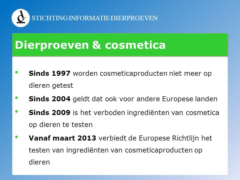 STICHTING INFORMATIE DIERPROEVEN Dierproeven & cosmetica • Sinds 1997 worden cosmeticaproducten niet meer op dieren getest • Sinds 2004 geldt dat ook