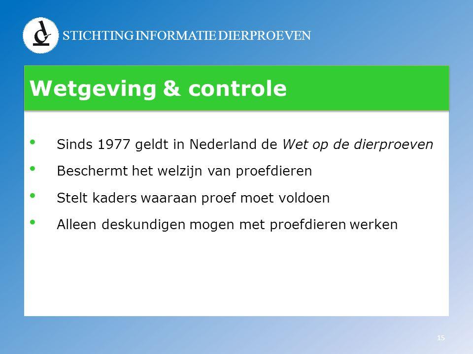 STICHTING INFORMATIE DIERPROEVEN Wetgeving & controle • Sinds 1977 geldt in Nederland de Wet op de dierproeven • Beschermt het welzijn van proefdieren