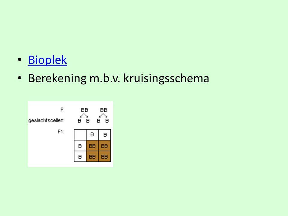 • Bioplek Bioplek • Berekening m.b.v. kruisingsschema