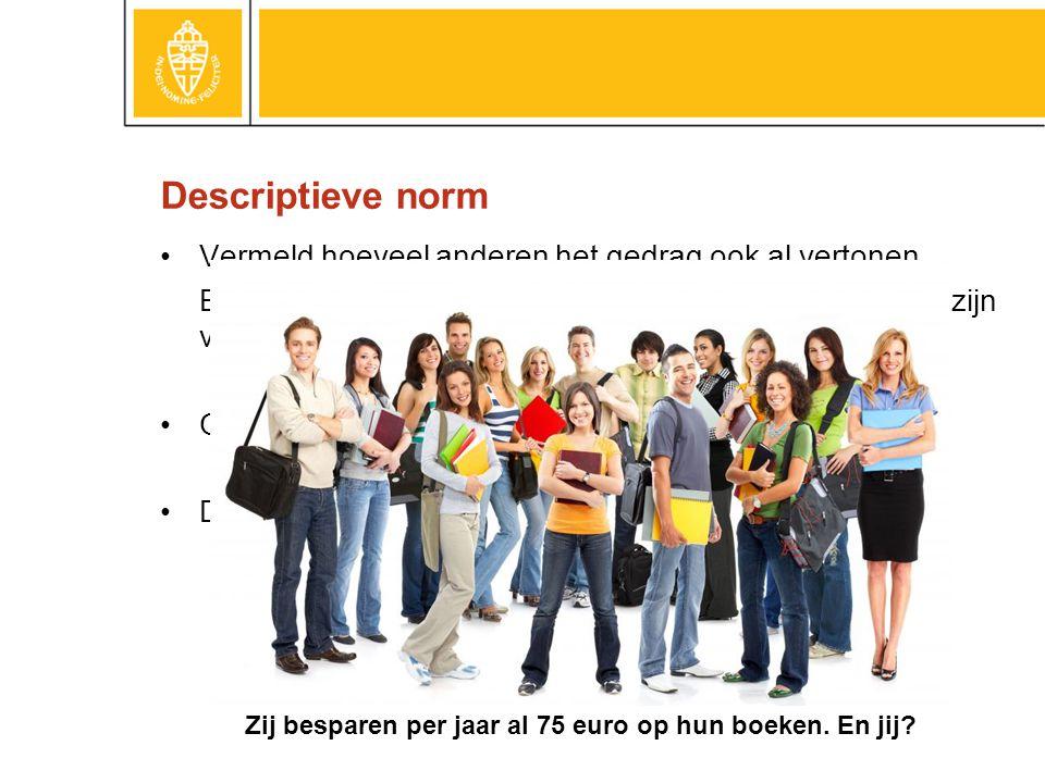 Descriptieve norm •Vermeld hoeveel anderen het gedrag ook al vertonen.