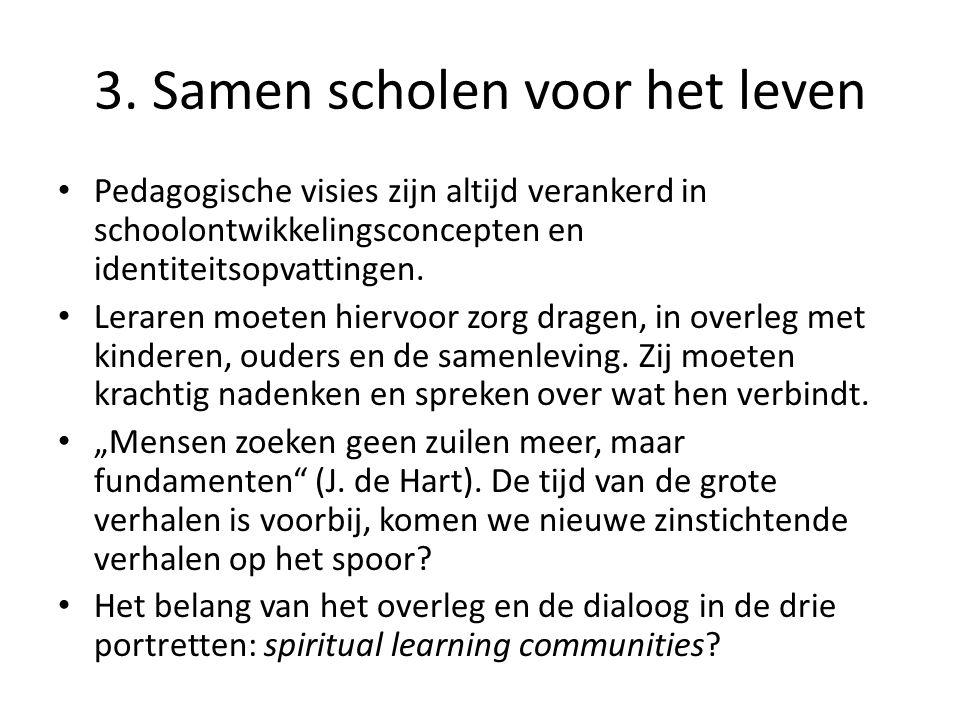 3. Samen scholen voor het leven • Pedagogische visies zijn altijd verankerd in schoolontwikkelingsconcepten en identiteitsopvattingen. • Leraren moete