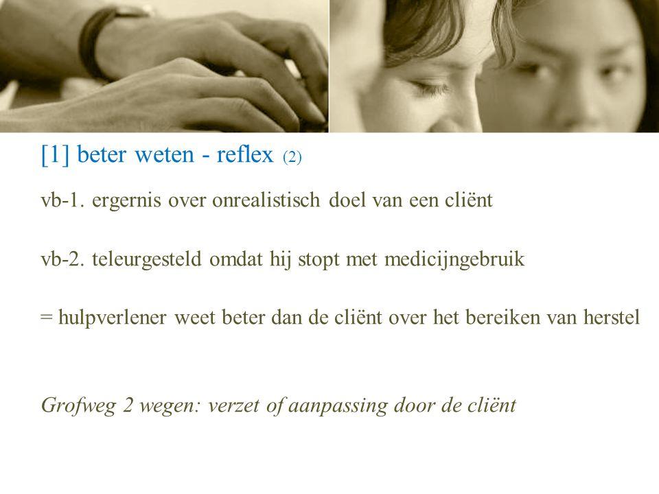 [1] beter weten - reflex (2) vb-1. ergernis over onrealistisch doel van een cliënt vb-2. teleurgesteld omdat hij stopt met medicijngebruik = hulpverle